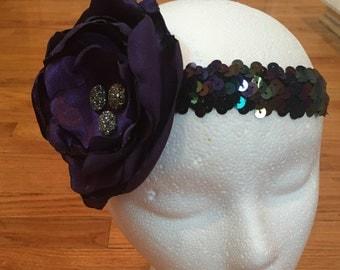 Purple and black, headband, child headband, baby headband, infant girls headband, sequins headband