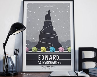 "Edward Scissorhands Minimalist Poster, Illustrated Movie Poster, Minimalist Poster, Home Decor, Nursery Wall Art, ""12x18"""