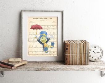 Pinocchio Jiminy Cricket Sheet Music Art Print