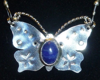 Sterling Silver Butterfly Lapis Artisan Necklace w Beaded Chain by SmithSilver