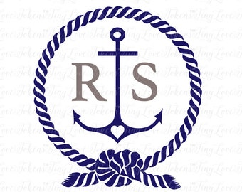 Anchor and Rope Monogram SVG Design for Silhouette and other craft cutters (.svg/.dxf/.eps/.pdf)