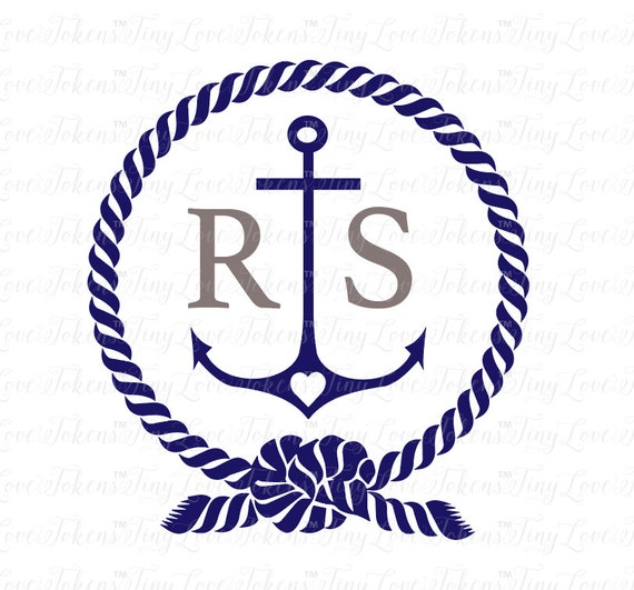 Anchor And Rope Monogram SVG Design For Silhouette And Other