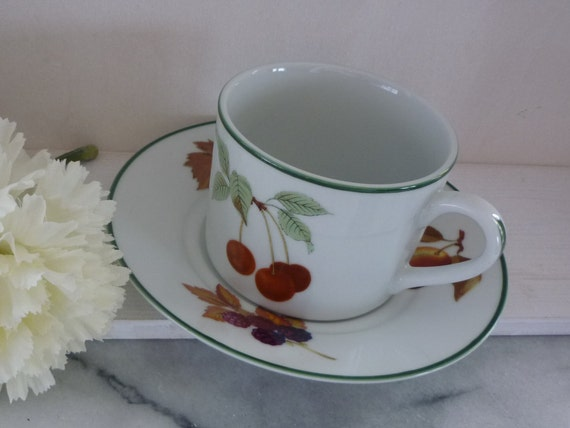 "Two Royal Worcester ""Evesham Vale"" Porcelain Coffee Cup & Saucer, summer fruit theme, green rim, wedding, housewarming, vintage"