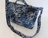 Handmade Summer small blue batik messenger bag