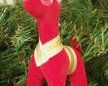 Vintage Dream Pets R. Dakin & Co. Red Velveteen Reindeer Ornament