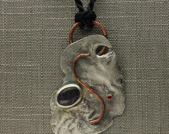 Reticulated Silver Necklace Goldstone Cabochon in Sterling Silver & Copper