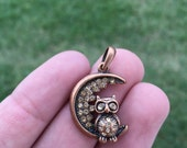 Red Copper Owl Charm - Owl sitting on Moon and Rhinestones - Red Copper Owl Moon Charm Pendant - Tibetan Silver Alloy - Copper Charm - (#81)