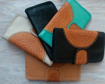 Sale***Tan * Camel * Black * Aqua * White Leather Wallet * Leather purse * Leather Clutch * Handmade Wallet * Boho Wallet * Bohemian BW001