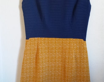 Blue and gold 1960s dress