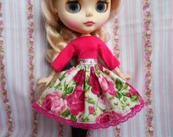 English rose pattern skirt for Blythe doll