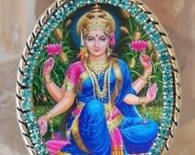 Goddess Lakshmi Handmade Necklace Hindu Jewelry Medal Pendant