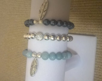 Feather Bead Bracelet trio