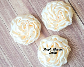 "Ivory Rolled Shiny Rosettes, 3"" Fabric Flowers, Headband Flowers, DIY Craft Flowers"