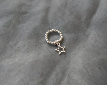 Sterling Silver Star Dangly Charm Elasticated Bead Ring