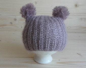 Mohair Newborn Hat, Newborn Pom Pom Hat, Newborn Photo Prop, Infant Hat, Newborn Boy Hat, Newborn Girl Hat, Baby Hat, Newborn Outfit