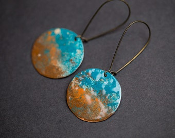 Dangle earrings Colorful earrings Copper earrings Enamel jewelry Brown Cognac Turquoise earrings Round earrings Enamel earrings Gift for her