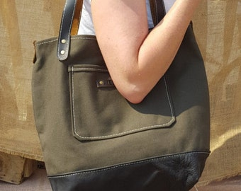 Canvas Tote with silk lining and leather bottom - Olive green with neutral print lining and black leather bottom