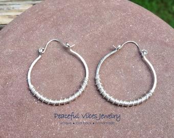 Hoop Earrings Sterling Silver Handcrafted Hinged Hoop Boho Earrings Wire Wrap Artisan Jewelry