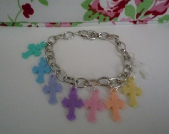 Kawaii pastel goth rainbow cross charm bracelet
