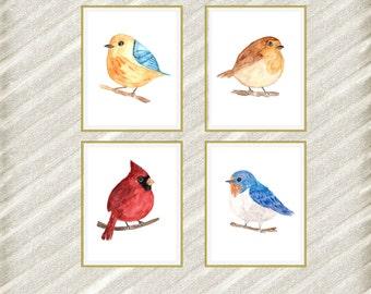 "Bird digital posters: ""NURSERY ROOM PRINTS"" watercolor bird Nursery Poster Bird Wall Art baby room prints Nursery wall decor set of 4"