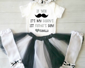 First Fathers Day Onesie, Fathers Day Baby, Baby Girl Fathers Day Outfit, Fathers Day Baby Outfit,Mustache Fathers Day Baby,Fathers Day Gift