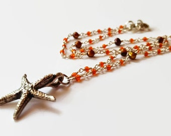 Fine Silver Starfish Necklace - PMC Necklace - Carnelian - Pearls
