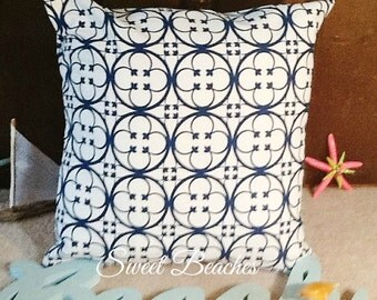 Navy on White Beach Pillow Covers Ocean Seaside Coastal Nautical Decor
