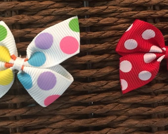 2 Polka Dot Small Hair Bows
