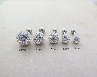 Crystal ball Piercing/Tragus Earring/Cartilage earring /Tragus stud/Crystal piercing/Labret bar optional/CZ stud erring/Ball piercing