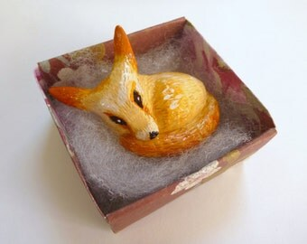 Polymer clay fennec fox animal totem figurine