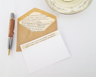 Shakespeare Stationery | Recycled Book Stationery | Vintage Book Stationery | Lined Envelopes | Book Lovers Gift | Handmade Rustic Notecards