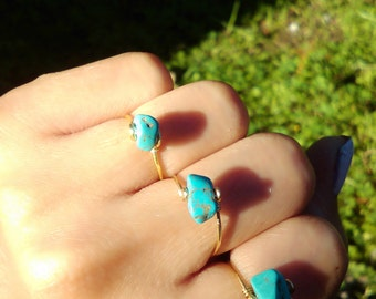 Turquoise rock Ring Gold Silver Rose Gold Copper Bronze Bohemian Gypsy Gemstone Natural Blue stone Ring Aqua Gem