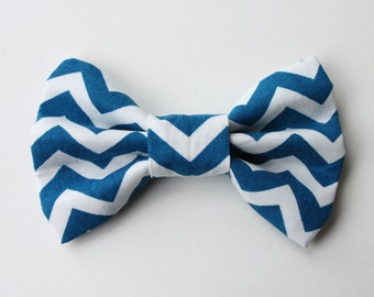Blue and White Zig Zag Bow Tie