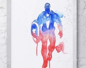 Captain America Marvel Avengers Watercolor Print