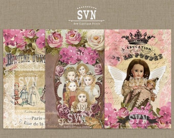 Les Poupees - Vintage French Dolls - Chic Style - Digital Collage Sheet Download | 6 different Designs