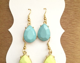 Gold and Turquoise or Lime Drop Earrings