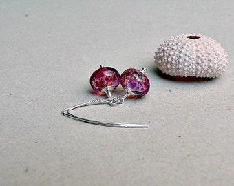 Speckled Raspberry  Lampwork & Sterling Silver Earrings
