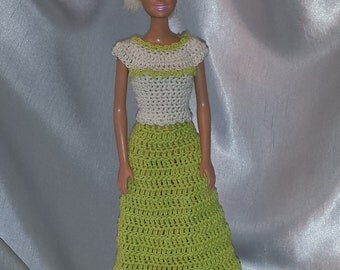 Crochet Barbie Long Skirt and Top, Lettuce Green and Linen Colored Crochet Barbie Doll Clothes, Fashion Doll Crocheted Clothing