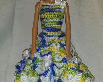 Crochet Barbie Dress, Crochet Barbie Doll Clothes, Fashion Doll Crocheted Clothing