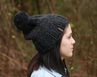 Knit slouchy pom pom winter hat/ Charcoal grey