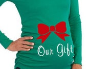 Maternity Christmas Shirt - Our Gift with Red Bow Pregnancy T-Shirt - Green Top