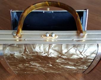 Golden Marbleized Pearlised Vinyl and Lucite Handbag