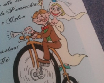 wedding cards on bicycle