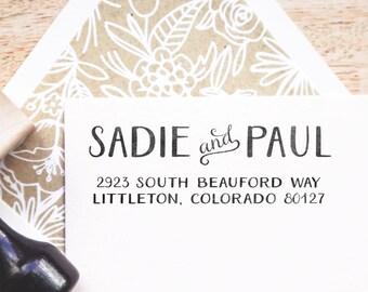 Stylish Bold Address Stamp - Personalized Address Stamp, Return Stamp, Wedding Stamp, Simple Address Stamp, Vintage Wedding Stamp (Style 20)