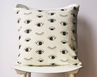 Black and white cushion cover, Eye print pillow case, Modern home decor, Organic cotton pillow