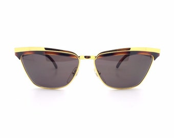 Early 1990s Genuine Vogart 3044 Tortoiseshell and Gold Cateye Vintage Sunglasses // New Old Stock