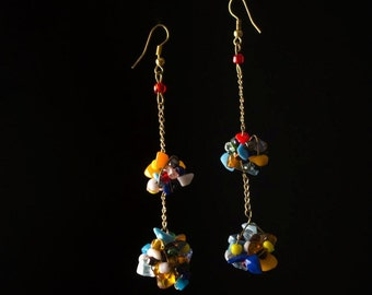 Clustered Bead and Stone Earrings