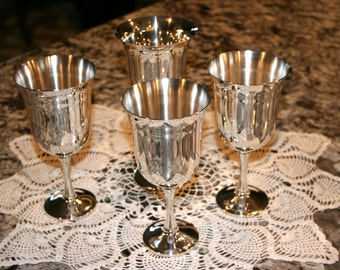 1970s Silver Plate Goblets//Three Made in Salem Portugal Goblets//One Leonard Silver Plate Goblet//Vintage Goblets
