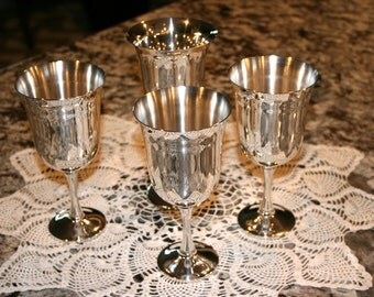 Silver Plate Goblets//Three Made in Salem Portugal Goblets//One Leonard Silver Plate Goblet//Vintage Goblets
