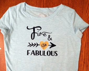 Five and Fabulous 5 Year old Birthday Shirt